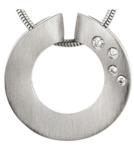Anhänger rund 950 Platin matt 4 Diamanten Brillanten 0,06ct. Platinanhänger.
