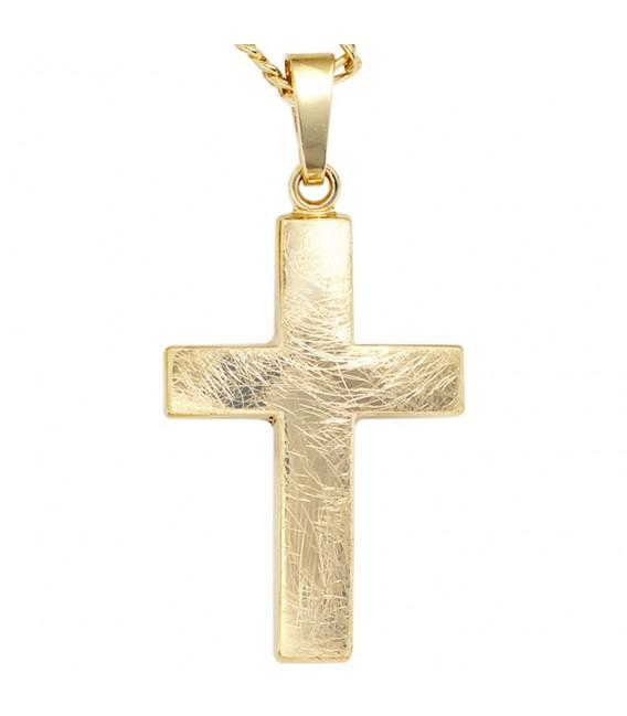 Anhänger Kreuz 333 Gold Gelbgold eismatt Kreuzanhänger Goldkreuz.