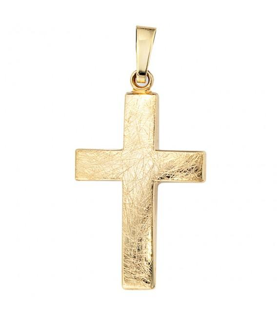 Anhänger Kreuz 333 Gold Gelbgold eismatt Kreuzanhänger Goldkreuz. Bild 3