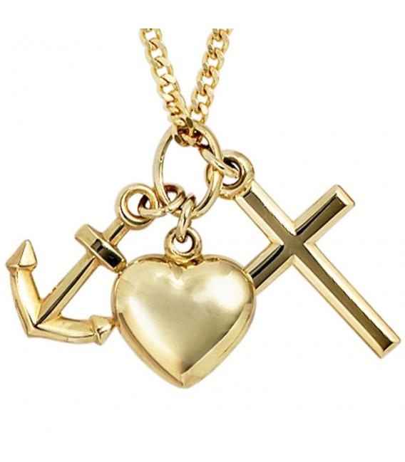 Anhänger Glaube Liebe Hoffnung 333 Gold Gelbgold.