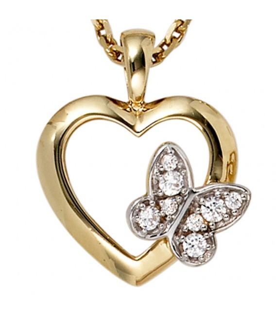 Anhänger Herz Schmetterling 333 Gold Gelbgold 8 Zirkonia Herzanhänger Goldherz,