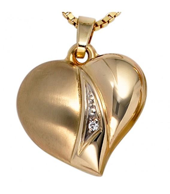 Anhänger Herz 333 Gold Gelbgold teil matt 1 Zirkonia Herzanhänger Goldherz.
