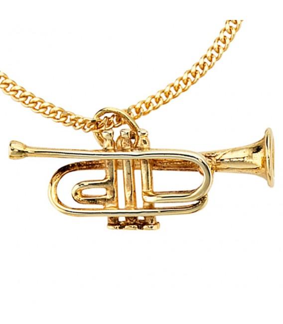 Anhänger Trompete 333 Gold Gelbgold Musik Goldanhänger.