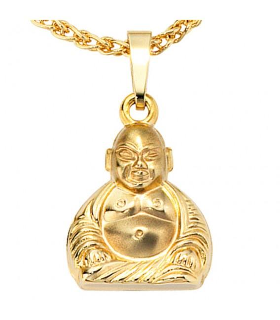 Anhänger Buddha 333 Gold Gelbgold mattiert Goldanhänger. Zoom