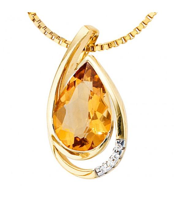 Anhänger Tropfen 585 Gold Gelbgold 4 Diamanten Brillanten 1 Citrin Goldanhänger.