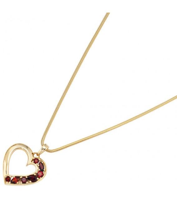 Anhänger Herz 585 Gold Gelbgold 7 Granate rot Herzanhänger Granatanhänger. Bild 3