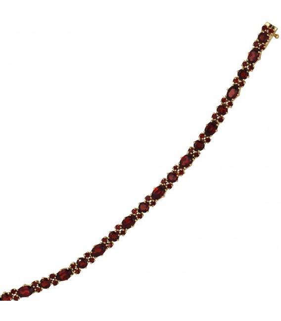 Armband 333 Gold Gelbgold und 72 Granate rot 19 cm Granatarmband.