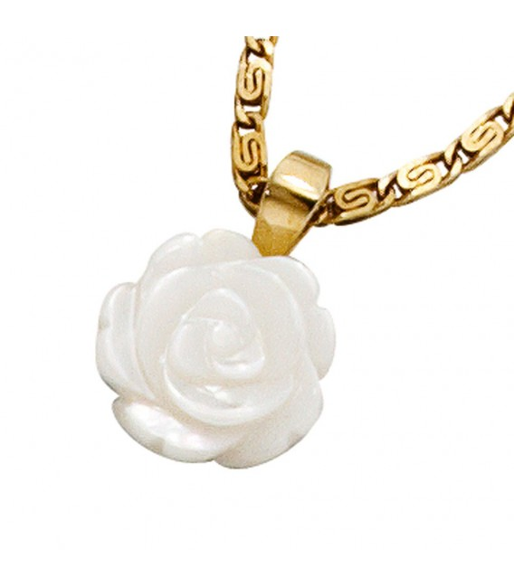 Anhänger Rose 333 Gold Gelbgold Perlmutt Perlmuttanhänger Perlmuttrose.