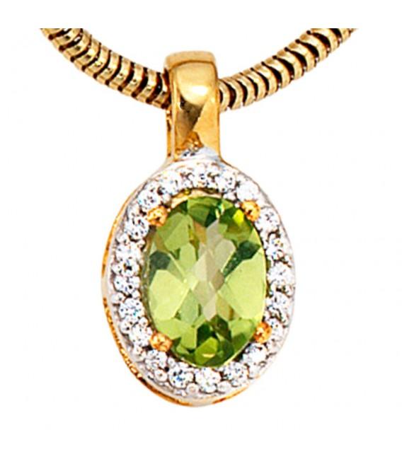 Anhänger oval 585 Gold Gelbgold bicolor 1 Peridot grün 20 Diamanten.