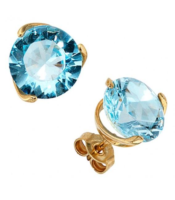 Ohrstecker rund 585 Gold Gelbgold 2 Blautopase hellblau blau Ohrringe.