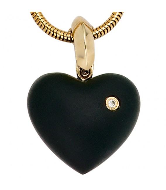 Einhänger Anhänger Herz 585 Gold Gelbgold 1 Onyx schwarz 1 Diamant Brillant.