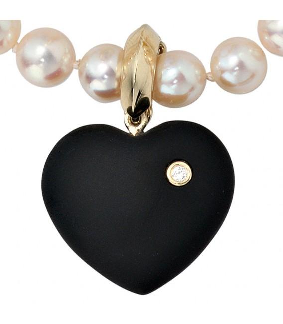 Einhänger Anhänger Herz 585 Gold Gelbgold 1 Onyx schwarz 1 Diamant Brillant. Bild 3