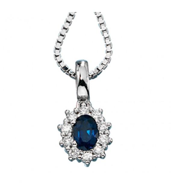 Anhänger 585 Gold Weißgold 10 Diamanten Brillanten 1 blauer Safir Goldanhänger.