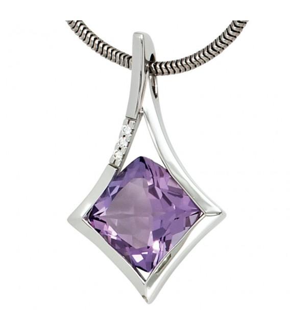 Anhänger 585 Gold Weißgold 1 Amethyst lila violett 3 Diamanten Brillanten.