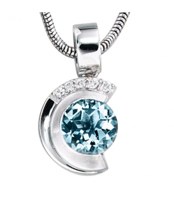 Anhänger 585 Gold Weißgold teil matt 5 Diamanten Brillanten 1 Aquamarin blau. Zoom