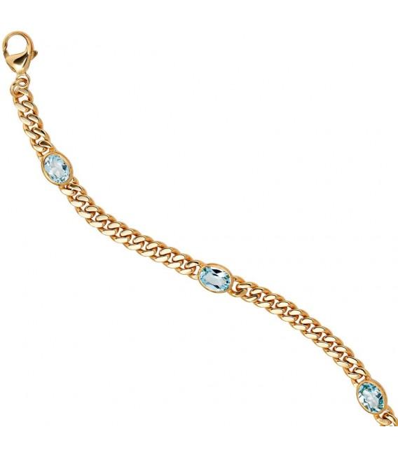Armband 585 Gold Gelbgold 19 cm 4 Blautopase hellblau blau Goldarmband Karabiner.