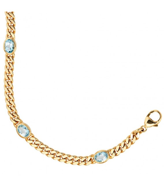 Armband 585 Gold Gelbgold 19 cm 4 Blautopase hellblau blau Goldarmband Karabiner. Bild 3