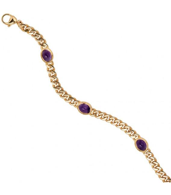Armband 585 Gold Gelbgold 19 cm 4 Amethyst-Chabochons lila violett Goldarmband.