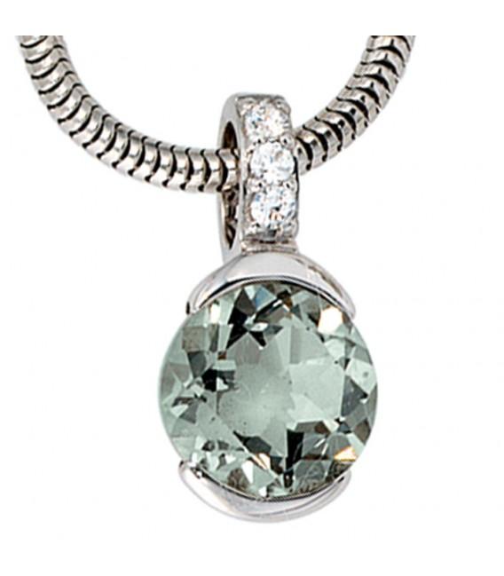Anhänger 585 Gold Weißgold 3 Diamanten Brillanten 1 grüner Amethyst Goldanhänger.