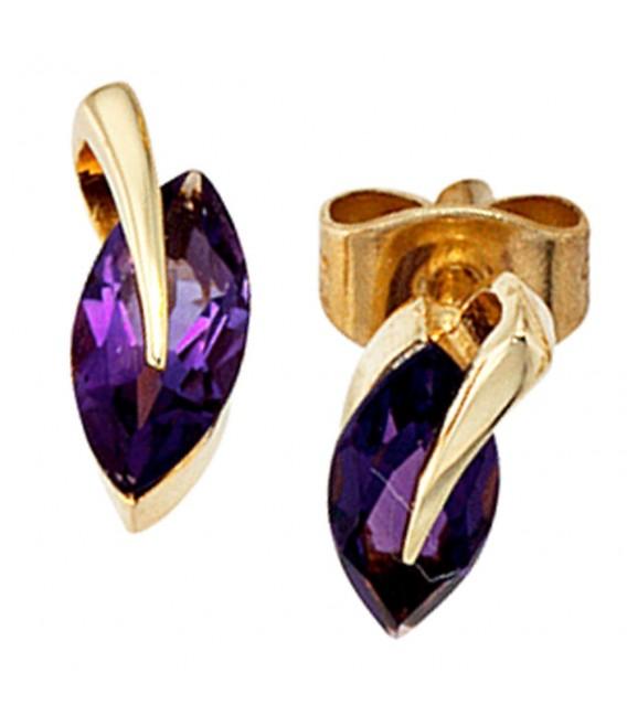 Ohrstecker 585 Gold Gelbgold 2 Amethyste lila violett Ohrringe Goldohrstecker.