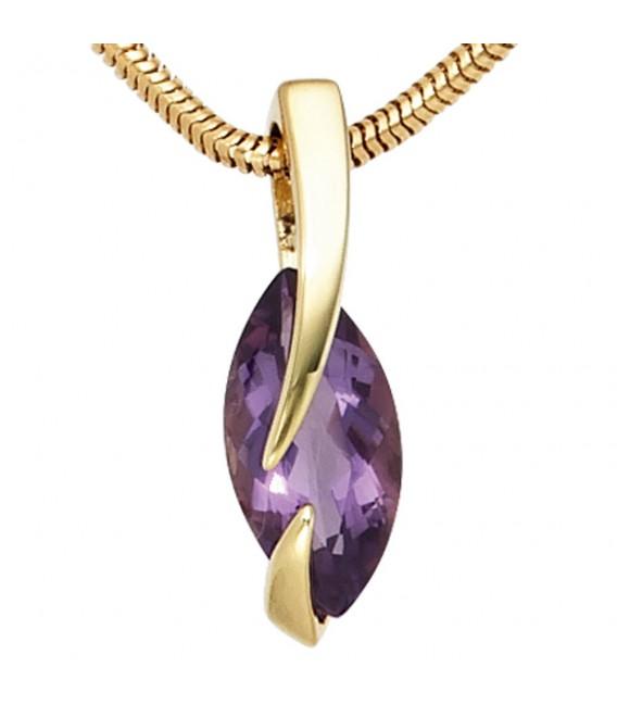 Anhänger 585 Gold Gelbgold 1 Amethyst lila violett Goldanhänger.