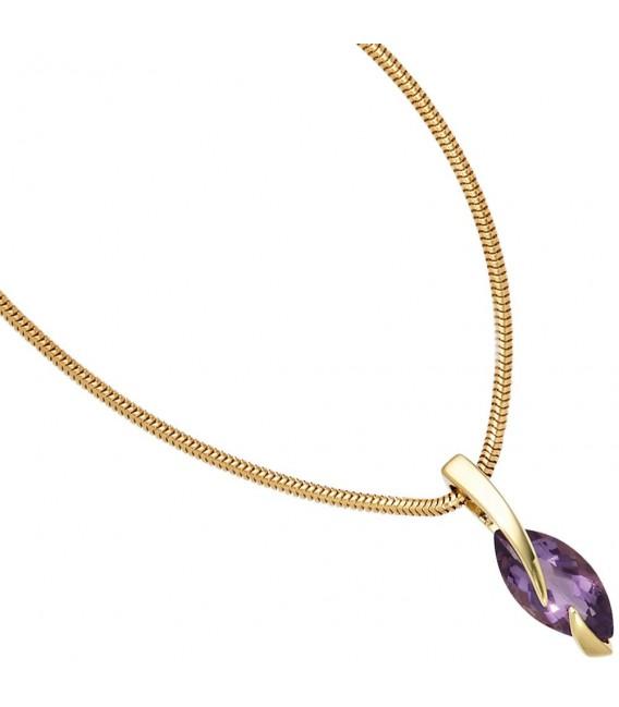 Anhänger 585 Gold Gelbgold 1 Amethyst lila violett Goldanhänger. Bild 3