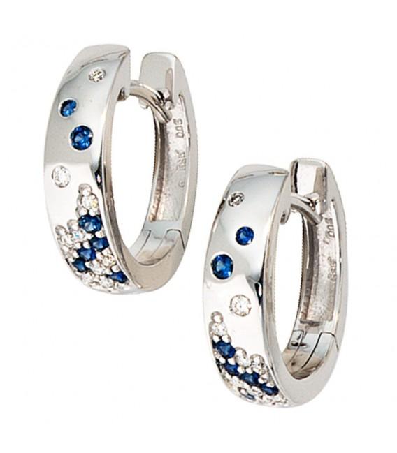 Creolen 585 Gold Weißgold 18 Diamanten Brillanten 14 Safire blau Ohrringe.