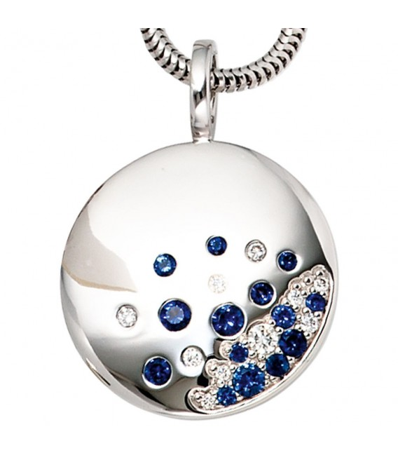 Anhänger rund 585 Gold Weißgold 10 Diamanten Brillanten 0,10ct. 14 blaue Safire.