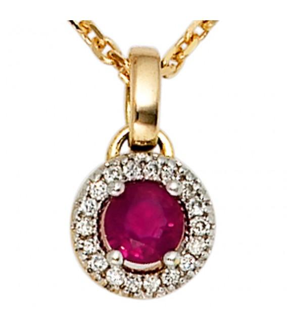Anhänger rund 585 Gold Gelbgold 18 Diamanten Brillanten 1 Rubin rot Goldanhänger.