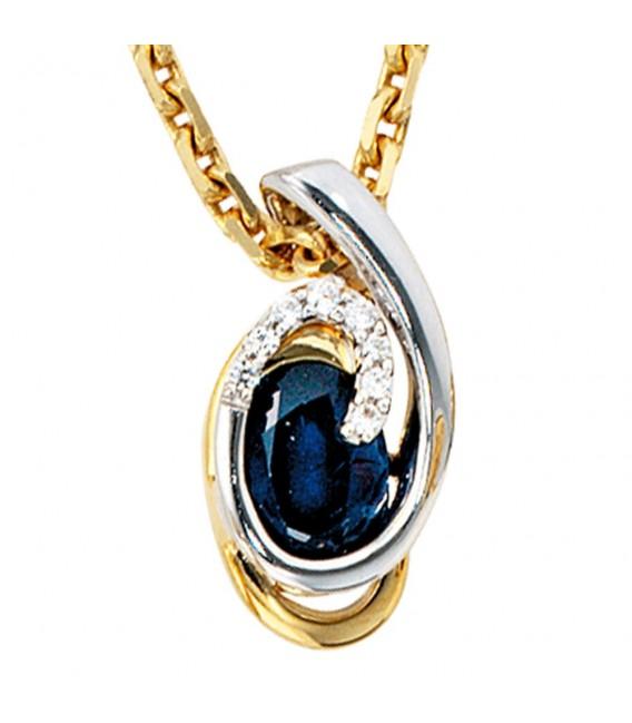Anhänger 585 Gold Gelbgold Weißgold 8 Diamanten Brillanten 1 blauer Safir.