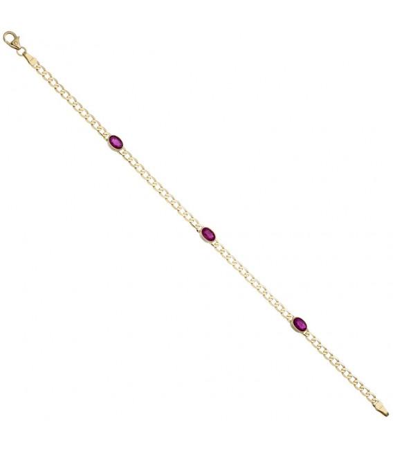 Armband 585 Gold Gelbgold 3 Rubine rot 19,5 cm Goldarmband Rubinarmband.