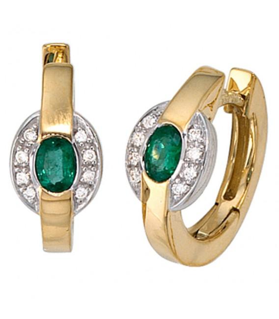 Creolen 585 Gold Gelbgold bicolor 16 Diamanten 2 Smaragde grün Ohrringe. Zoom