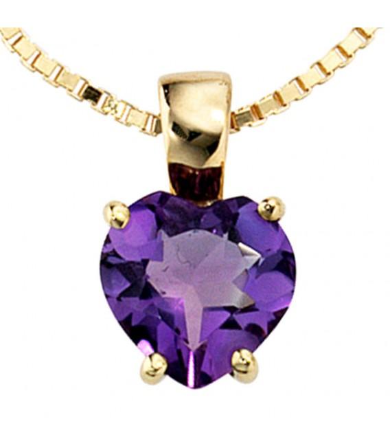 Anhänger Herz 333 Gold Gelbgold 1 Amethyst lila violett Herzanhänger.