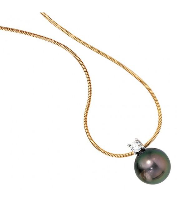 Collier Kette mit Anhänger 585 Gold 1 Tahiti Perle 1 Diamant Brilllant 42 cm.