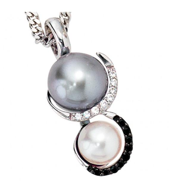 Anhänger 585 Gold Weißgold 2 Süßwasser Perlen 17 Diamanten Perlenanhänger.