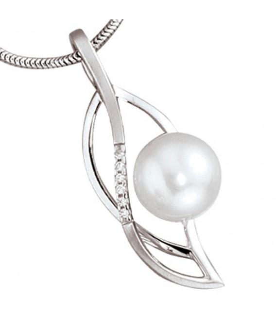 Anhänger 585 Gold Weißgold 1 Süßwasser Perle 6 Diamanten Perlenanhänger.
