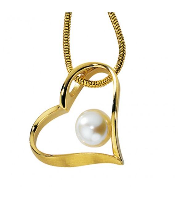 Anhänger Herz 585 Gold Gelbgold mattiert 1 Süßwasser Perle Perlenanhänger.