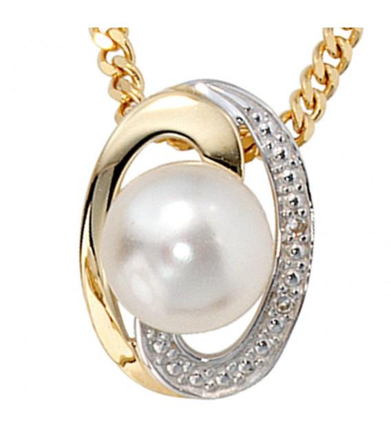 Anhänger 585 Gold Gelbgold bicolor 1 Süßwasser Perle 2 Diamanten Perlenanhänger.