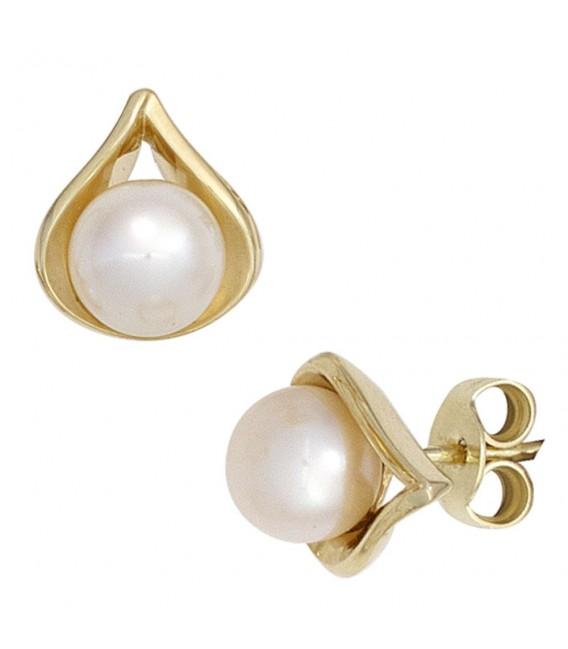 Ohrstecker 585 Gold Gelbgold 2 Süßwasser Perlen Ohrringe Perlenohrstecker.