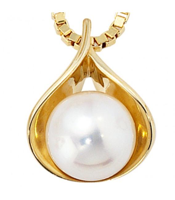 Anhänger 585 Gold Gelbgold 1 Süßwasser Perle Perlenanhänger.