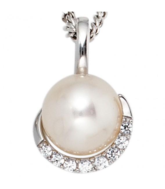 Anhänger 585 Gold Weißgold 1 Süßwasser Perle 8 Diamanten Perlenanhänger.