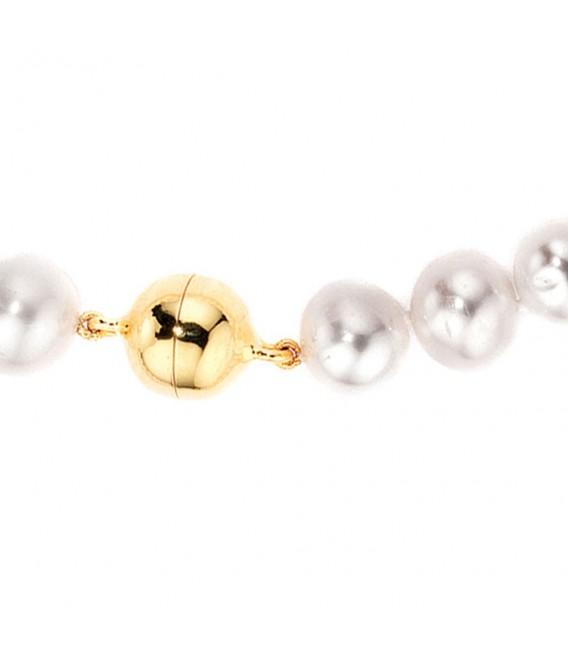 Perlenarmband Süßwasser Perlen 19 cm Magnetverschluss aus 925 Silber Armband.