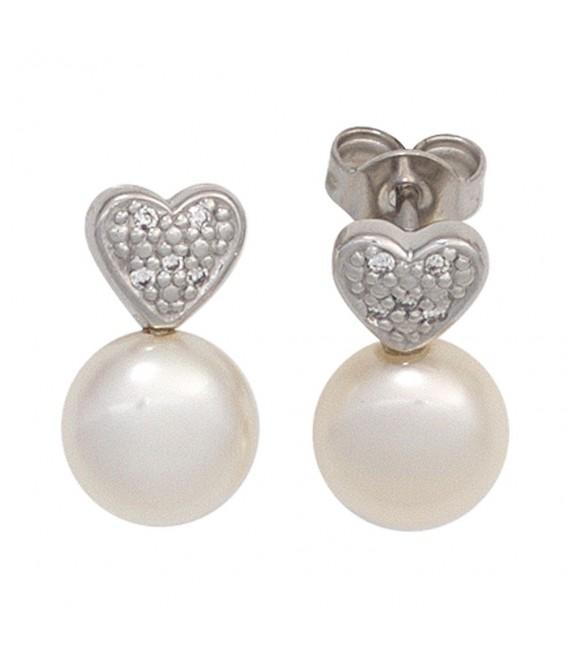 Ohrstecker Herz 585 Gold Weißgold 2 Süßwasser Perlen 10 Diamanten Ohrringe.