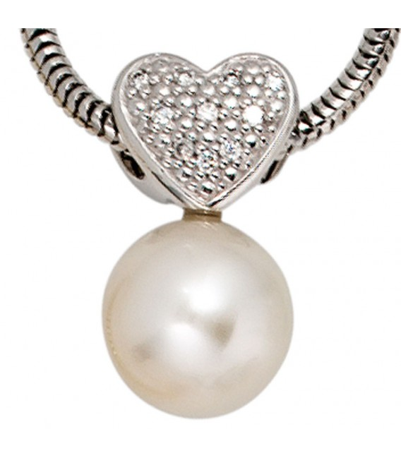 Anhänger Herz 585 Gold Weißgold 1 Süßwasser Perle 10 Diamanten Perlenanhänger.