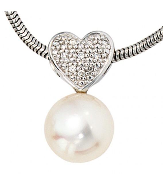 Anhänger Herz 585 Gold Weißgold 1 Süßwasser Perle 10 Diamanten Perlenanhänger. Bild 3
