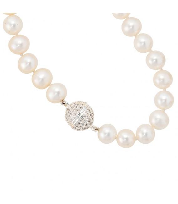Perlenarmband Süßwasser Perlen 20 cm Verschluss 925 Silber mit Zirkonia Armband.