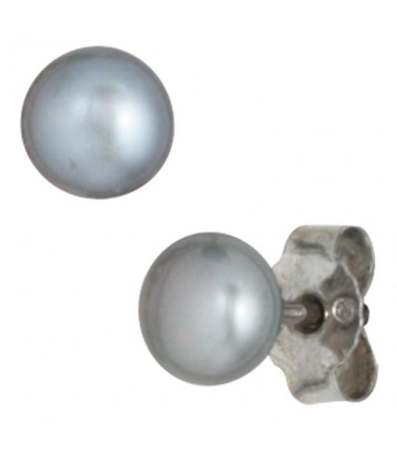 Set aus Perlenkette 45 cm Perlenarmband 19 cm und Perlen-Ohrsteckern grau.