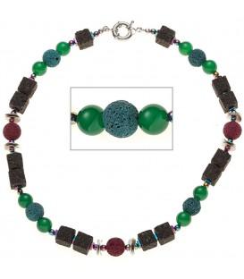 Halskette Edelsteinkette Lava mit - 4053258284285