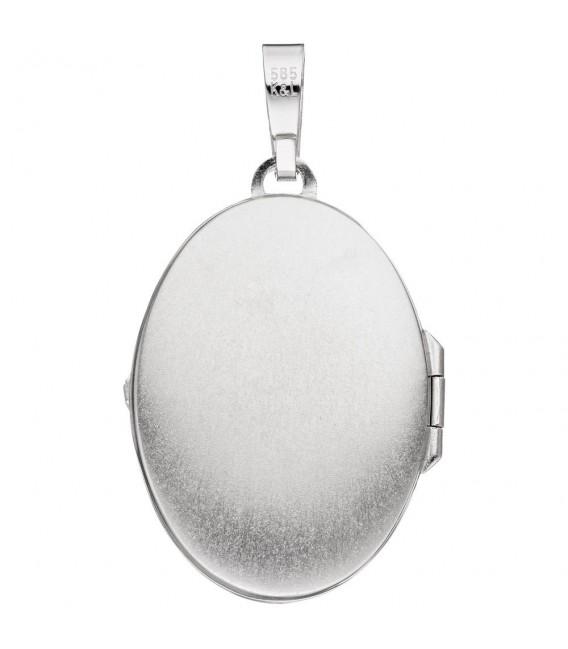 Medaillon oval 585 Gold Weißgold mattiert 2 Diamanten Anhänger zum Öffnen.