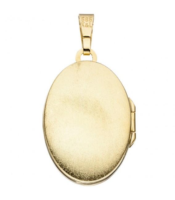 Medaillon oval 585 Gold Gelbgold 1 Lagen Kamee Blumen Anhänger zum Öffnen. Zoom
